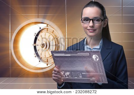 Businesswoman with touchscreen in financial banking concept