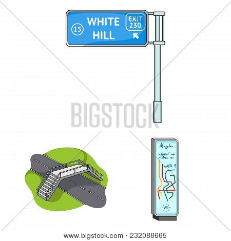 Road Junctions And Signs And Other  Icon In Cartoon Style.pedestrian Crossings And Signs Icons In Se