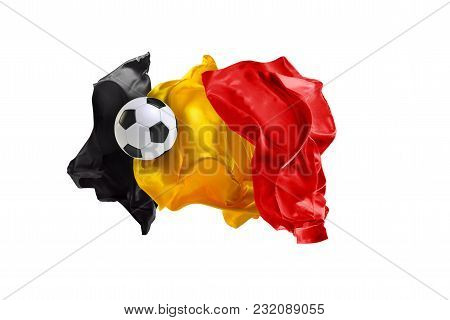 The National Flag Of Belgium. World Cup. Flag Made Of Fabric. Football And Soccer Concept. Fans Conc