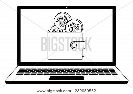 Iota Coins In The Wallet On The  Screen Laptop,iota Wallet In The  Screen Laptop, Design Concept Bla