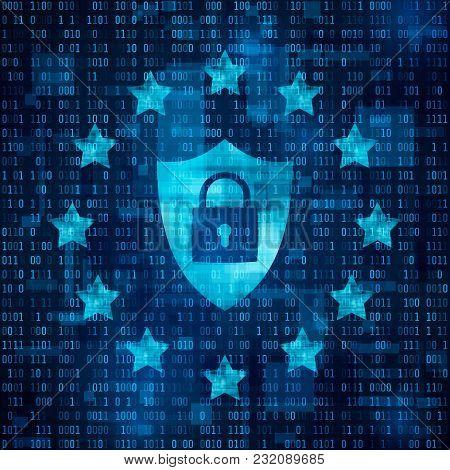 General Data Protection Regulation - Gdpr. Shild With Padlock, Data Secure. Stars On Blue Matrix Bac