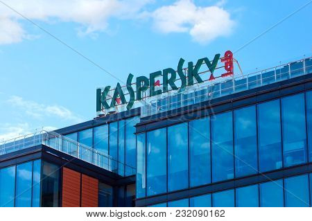 Moscow, Russia - March 20, 2018: The Sign Kaspersky Lab On The Building Of The Central Office Of Kas