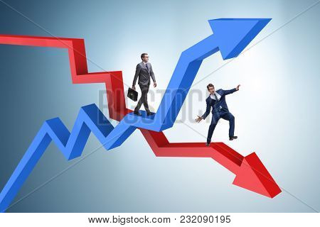Opposite growth and decliine charts with businessman