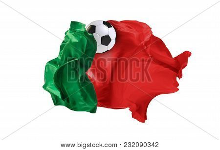 The National Flag Of Portugal. Flag Made Of Fabric. Football And Soccer Concept. Fans Concept. Socce