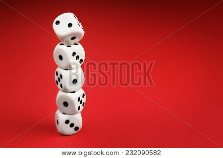 White Dice On Red Background. Board Game Concept