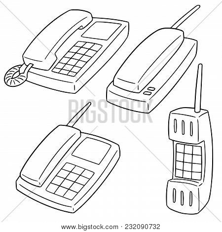 Vector Set Of Telephones Hand Drawn Cartoon