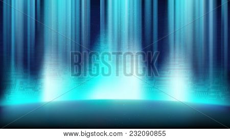 An Empty Blue Scene With A Background Of A Printed Circuit Board, Illuminated By A Bright Spotlight
