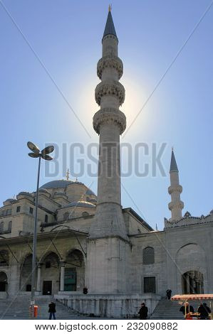 Istanbul, Turkey - March 29, 2012: Minarets Of Yeni Cami Mosque.