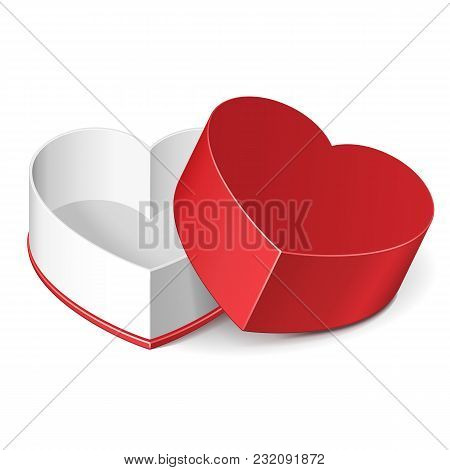 Opened Valentine's Day Red Gift Candy Box Like Heart Isolated On White Background. Vector Eps10