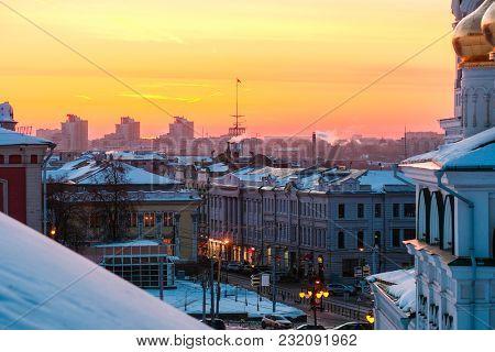 Nizhny Novgorod, Russia - March, 10, 2018: panorama of Nizhny Novgorod in winter at sunset