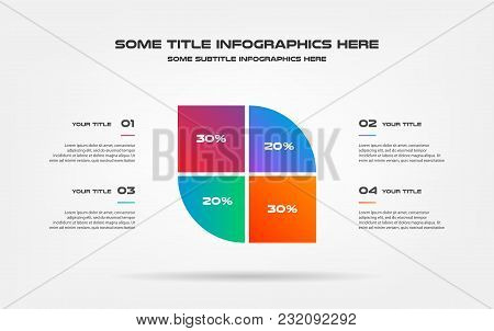 Pie Chart Of Percentage Infographics. Element Of Graph, Diagram With 4 Options - Parts, Processes, T