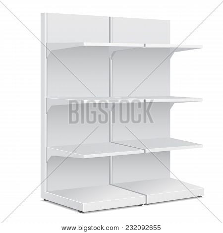White Long Blank Empty Showcase Displays With Retail Shelves Products Mock Up On White Background Is