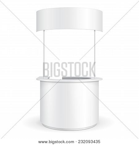 White Round Pos Poi Blank Empty Advertising Retail Stand Stall Bar Display With Roof, Canopy, Banner