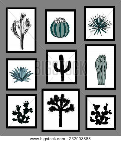 Wall Pictures Sat With Black And White Silhouettes Of Cactus, Agave, And Prickly Pear. Interior Desi