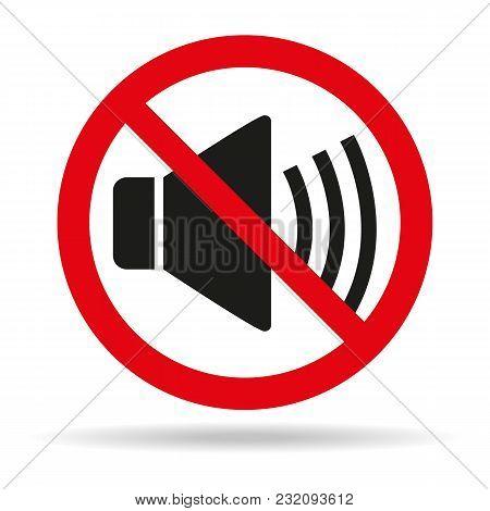 No Sound Sign On White Background. Vector Illustration