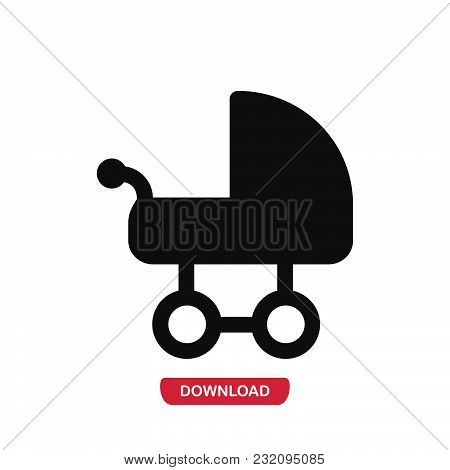 Baby Carriage Icon Vector In Modern Flat Style For Web, Graphic And Mobile Design. Baby Carriage Ico