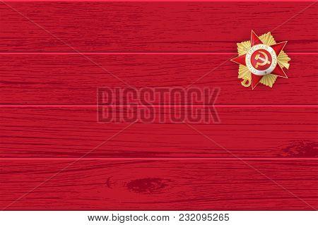 9 May Victory Day Win Word. Order Gear War. Winner Great War 1941-1945. Vector Red Wooden Board Illu