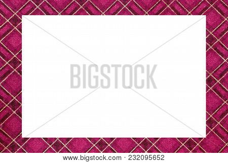 White Rectangle And Frame With The Texture Of The Famous Tartan Scottish Fabric