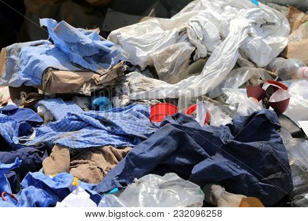 Rags And Waste Fabrics In The Landfill For Collecting Recyclable Material