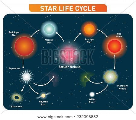Star Life Cycle Steps From Stellar Nebula To Red Giant To Black Hole. Vector Illustration Diagram Po