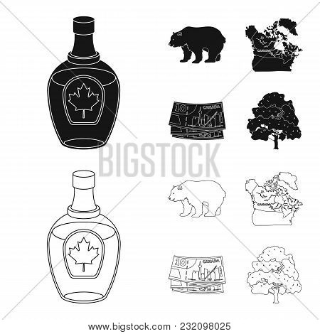 Canadian Dollar, Territory Map And Other Symbols Of The Country.canada Set Collection Icons In Black