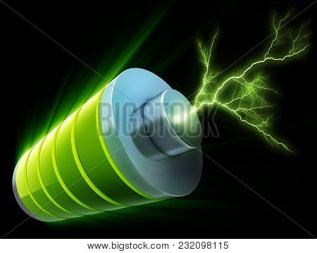 3d Rendering Of A Green Energy Battery
