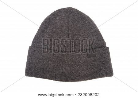 Grey Woolen Hat Isolated On White Background.