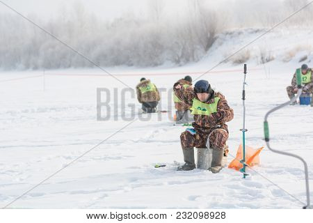 18.02.2018 Competitions On Winter Fishing. Russia, Altai Territory City Of Zarinsk.