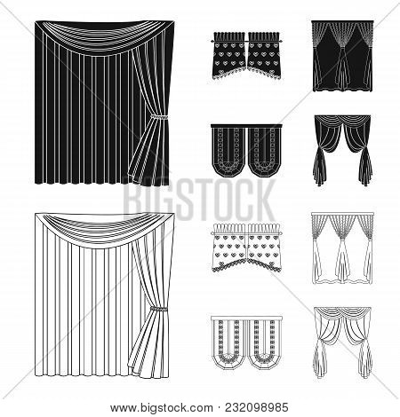 Curtains, Stick, Cornices, And Other  Icon In Black, Outline Style.bow, Fabric, Tulle Icons In Set C