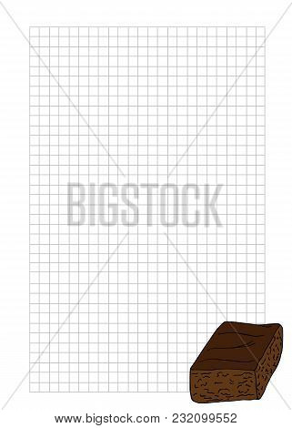 Paper Note Book Template With Brownies In Hand Drawn Style. For Print, Package, Menu. Vector Illustr