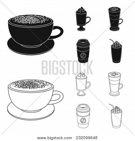 Mocha, Macchiato, Frappe, Take Coffee.different Types Of Coffee Set Collection Icons In Black, Outli