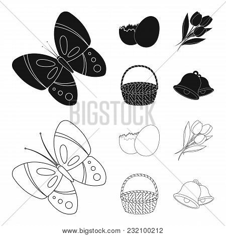 Chocolate Egg, Bells, Basket And Flowers.easter Set Collection Icons In Black, Outline Style Vector