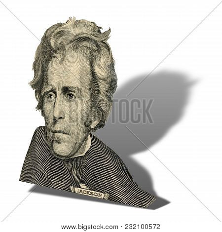Portrait Of Former U.s. President Andrew Jackson As He Looks On Twenty Dollar Bill Obverse.  Photo A