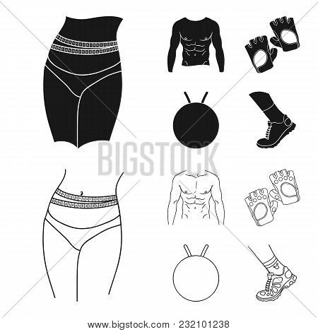 Men Torso, Gymnastic Gloves, Jumping Ball, Sneakers. Fitnes Set Collection Icons In Black, Outline S