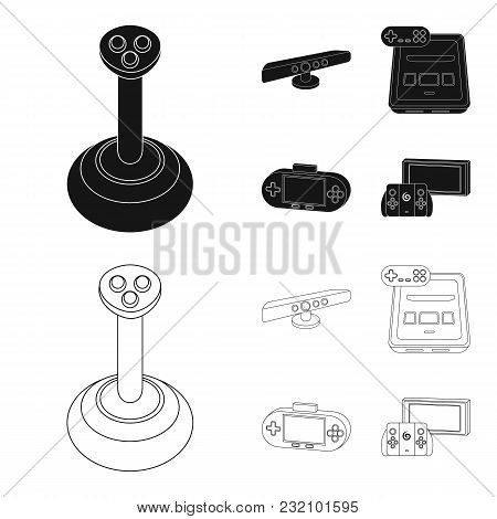 Game And Tv Set-top Box Black, Outline Icons In Set Collection For Design.game Gadgets Vector Symbol