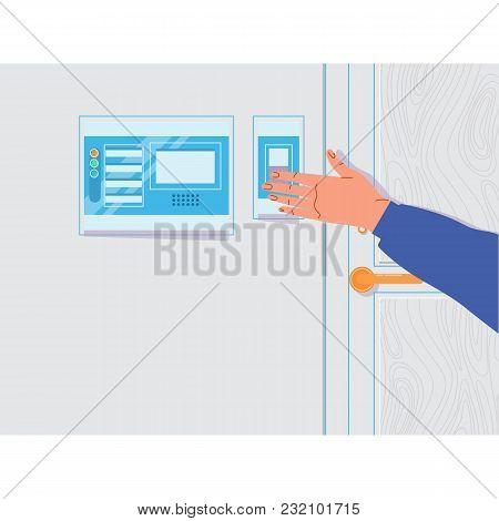 Hand Pressing Doorbell Buzzer.vector Illustration In Flat Style