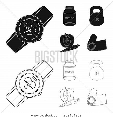 Protein, Vitamins And Other Equipment For Training.gym And Workout Set Collection Icons In Black, Ou