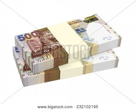 Hong Kong dollar bills stacks isolated on white with clipping path. 3D illustration