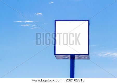 Mock Up Of Advertising Billboard With Blue Sky Background.