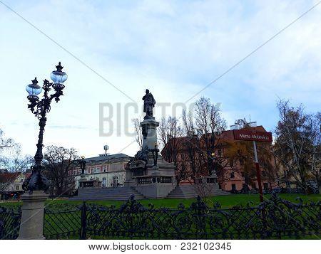 Warsaw, Poland - December 15, 2017: Adam Mickiewicz Monument At The Krakowskie Przedmiecie