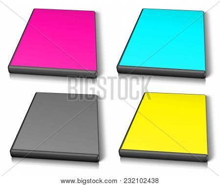 Abstract Cmyk Dvd Case On White Background