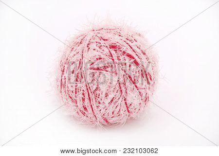 Red And White Threads Clew  Isolated On A White Background