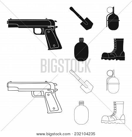 Sapper Blade, Hand Grenade, Army Flask, Soldier Boot. Military And Army Set Collection Icons In Blac