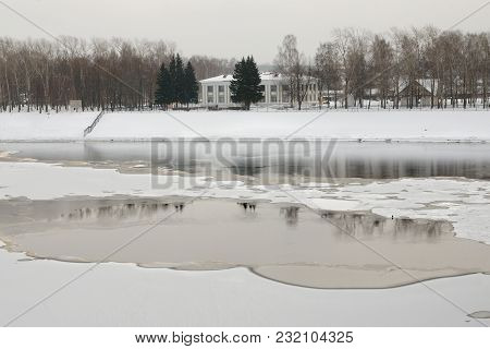Reflection Of Trees In A Swashway Of Volga River In The Center Of Uglich, Yaroslavl Region, Russia