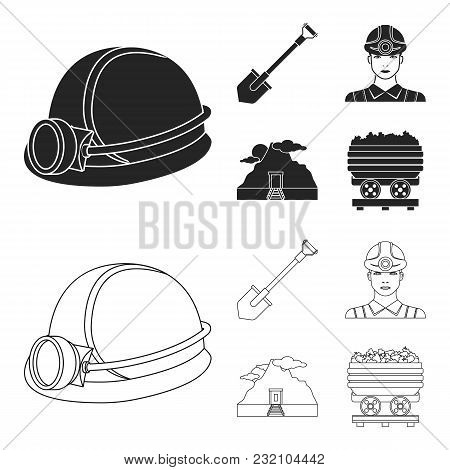 A Shovel, A Miner, An Entrance To A Mine, A Trolley With Coal.mine Set Collection Icons In Black, Ou