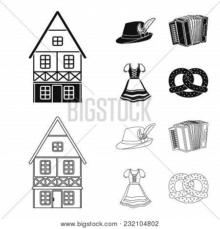 Tyrolean Hat, Accordion, Dress, Pretzel. Oktoberfestset Collection Icons In Black, Outline Style Vec