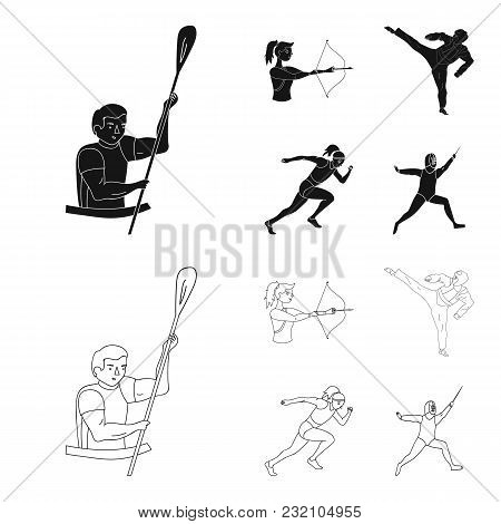 Archery, Karate, Running, Fencing. Olympic Sport Set Collection Icons In Black, Outline Style Vector