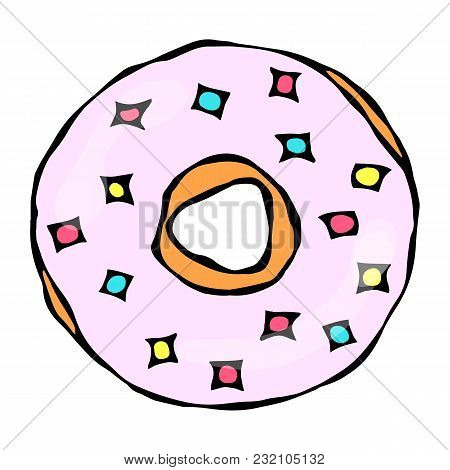 Sweet Donut With Pink Sugar Glaze And Pink Round Confetti Topping. Pastry Shop, Confectionery Design