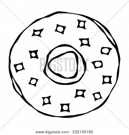 Sweet Donut With Sugar Glaze And Pink Round Confetti Topping. Pastry Shop, Confectionery Design. Rou