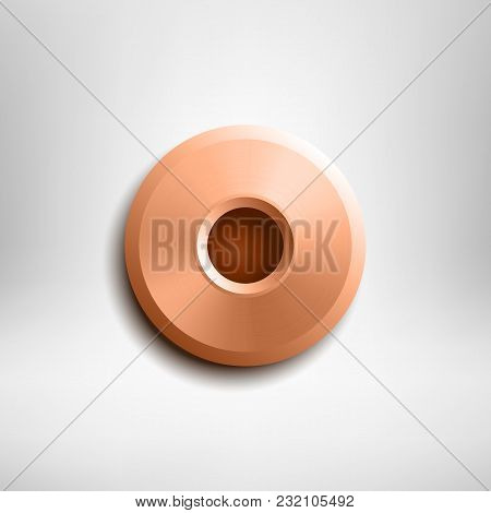 Brass Rivet Isolated On Gray Background. Vector Design Element